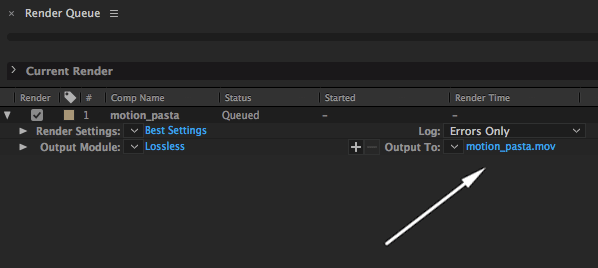 After Effects Render Queue Output