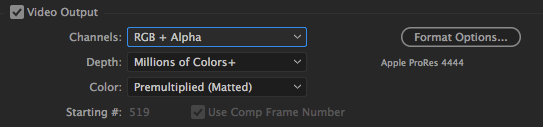 After Effects Render Queue RGB Alpha